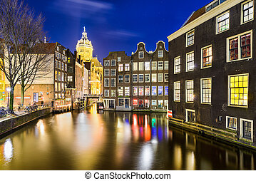 Amsterdam at night, Netherlands - Historic city of...