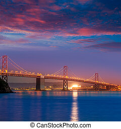 Bay Bridge at sunset in San Francisco California - Bay...