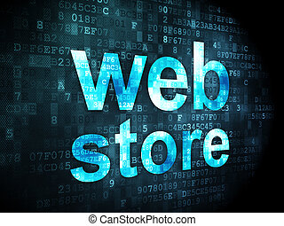 SEO web development concept: Web Store on digital background...