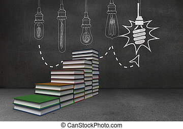 Steps made of books in front of light bulb doodle on...