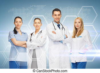 young team or group of doctors - healthcare and medicine...