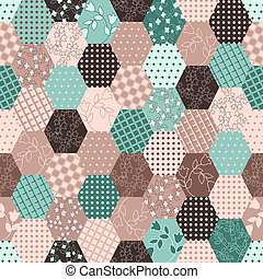 Colorful Patchwork Seamless Patterns .