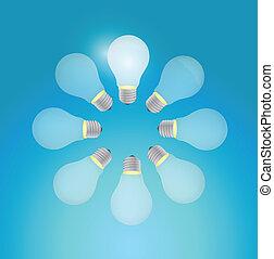 set of light bulb in a circle. illustration design