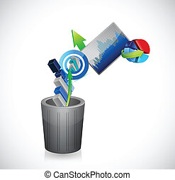 business going to the trash concept. illustration