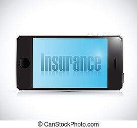 insurance card on a smartphone. illustration