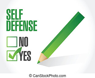 self defense check mark illustration design over a white...