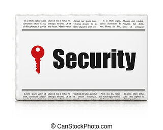 Safety concept: newspaper with Security and Key