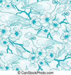Blue birds with blossoms seamless pattern background -...