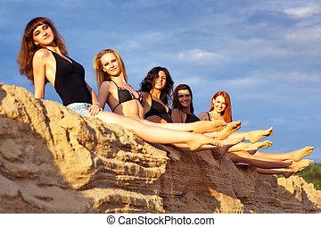 Five young women