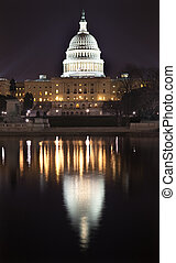 US Capitol Night Washington DC with Reflection - US Capitol...
