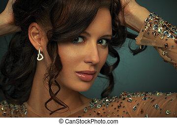 Retrato, mulher, jovem