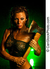 Woman with axe - Young strong woman with axe