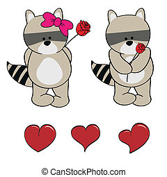 raccoon baby cute cartoon set in vector format