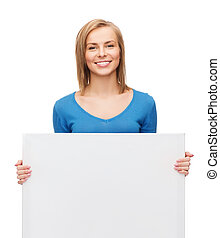 smiling girl with blank white board - advertisement and...
