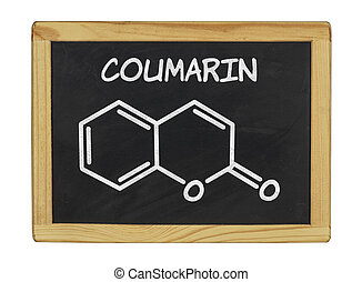 chemical formula of coumarin on a blackboard