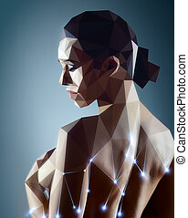 Young sexy woman - Woman portrait. Real woman digitizing to...