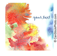 Watercolor Background With Chrysanthemum - Watercolor...