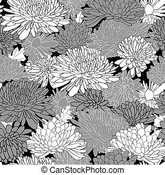Floral Pattern. Background With Chrysanthemum. - Floral...