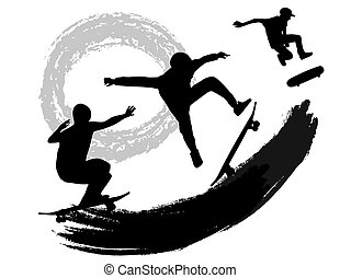 Skateboarders silhouettes on abstract grunge background,...