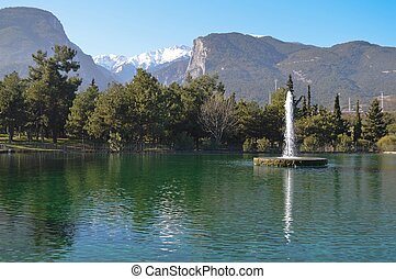 Beautiful lake in Litochoro and Olymp Olympus mountains in...
