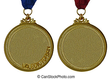 Gold Medals - Gold and valedictorian graduation meda