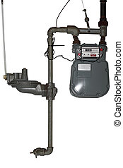 Gas Meter - Domestic natural gas meter and rusty pipes down...