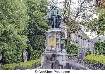 Petit Sablon Square in Brussels, Belgium - Statue of Egmont...
