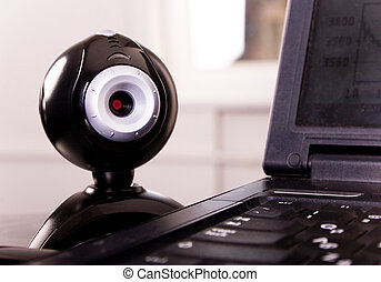 web camera - close-up web camera at the laptop keyboard