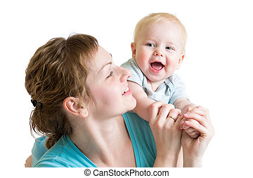 joyful mother playing with her kid boy