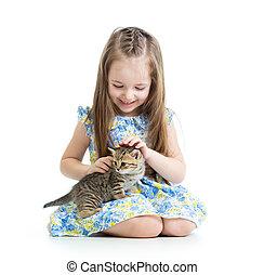 幸せ, 女の子, 子ネコ, 子供