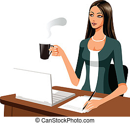 The view of woman - The woman is working with coffee