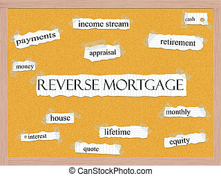 Reverse Mortgage Corkboard Word Concept with great terms...
