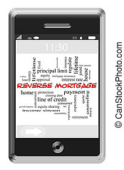 Reverse Mortgage Word Cloud Concept on Touchscreen Phone