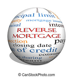 Reverse Mortgage 3D sphere Word Cloud Concept with great...