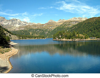 "Alpine lake ""Lago di Devero, hydroelectric basin, Ossola,..."