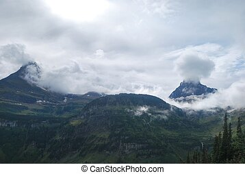 Glacier National Park in Montana - Mountains hidden by...