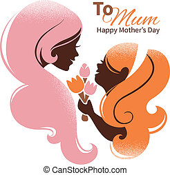 Card of Happy Mothers Day Beautiful mother silhouette with...