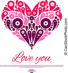Valentine's Day card with decorative stylish heart. Wedding invitation
