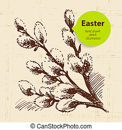 Vintage Easter background with hand drawn sketch...