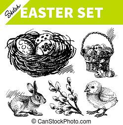 Easter set. Hand drawn sketch illustrations