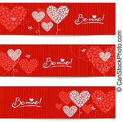 Set of love background with abstract hearts and birds...