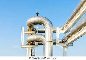 Outdoor ventilation system, on blue sky background