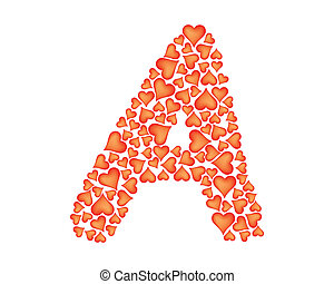 letter a made of valentines