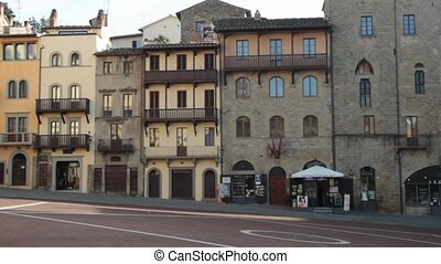 Piazza Grande medieval town square in Arezzo,Tuscany, Italy