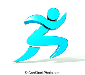 Spa athletic 3D man figure logo - Winner athletic 3D man...