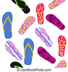 Seamless pattern with flip flops Summer background
