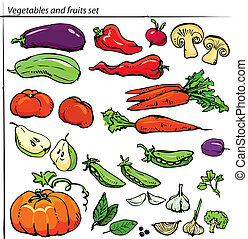 Set of delicious vegetables and fruits