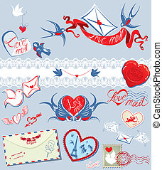Collection of love mail design elements - birds, envelops, hearts, calligraphic text LOVE MAIL - Valentine`s Day or Wedding postage set.