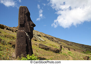 Easter Island statue - Stone statues moai standing on the...