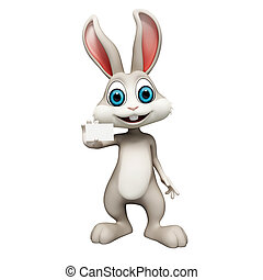 Bunny with visiting card - White bunny is holding a visiting...